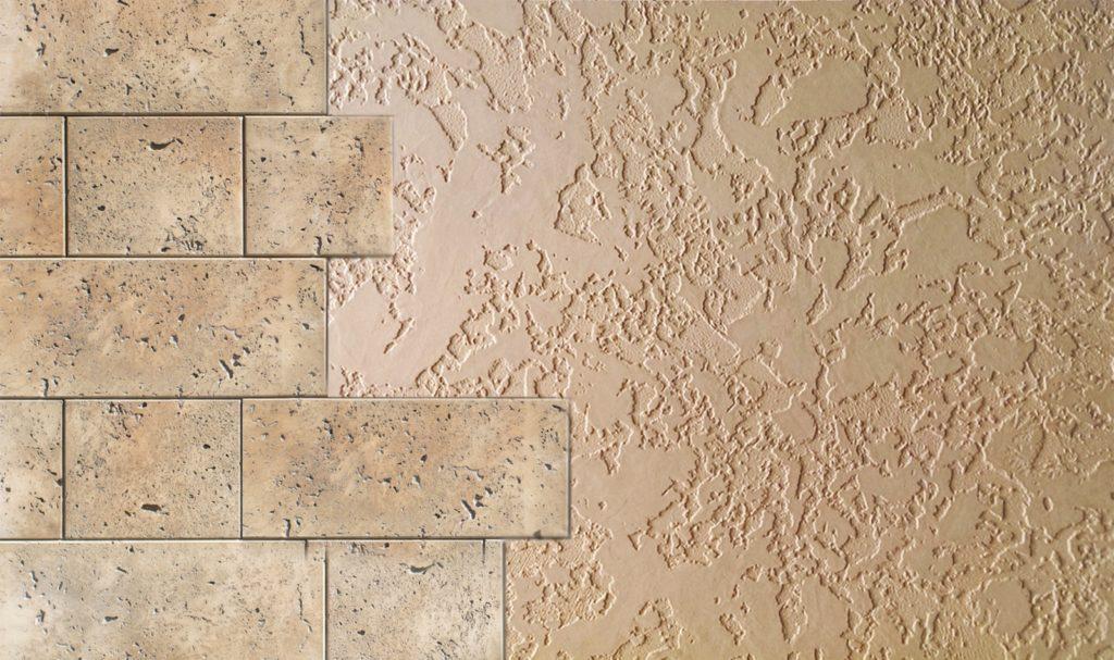 стена оштукатуренная жидким травертином с эффектом камня