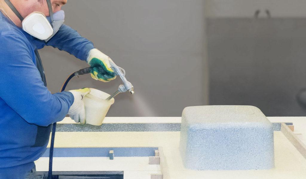 изготовление жидкого камня методом распыления