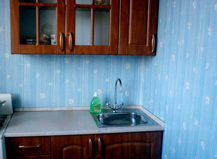 голубые пластиковые панели на кухне