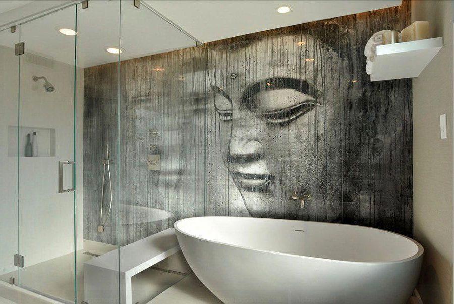 пластиковые панели с рисунком в ванной комнате