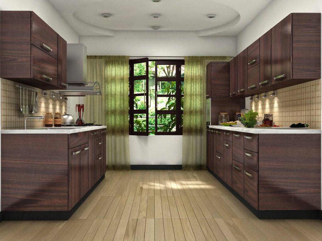 Двухлинейная кухня коричневая