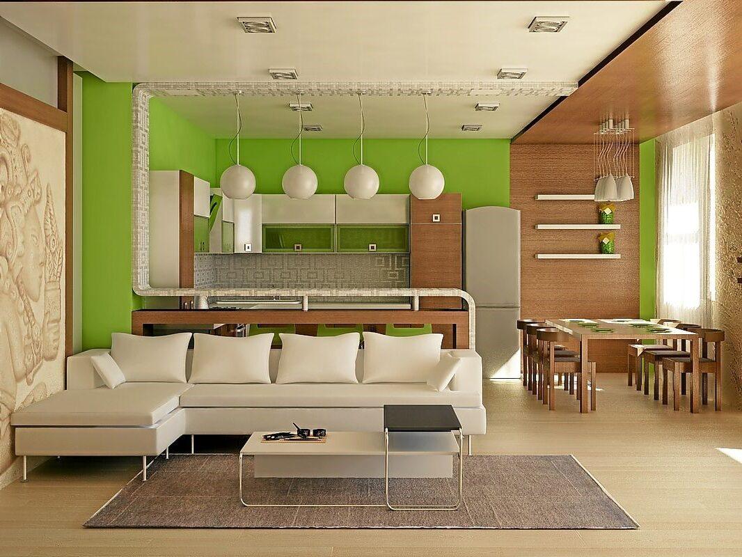 зеленая гостиная-столовая