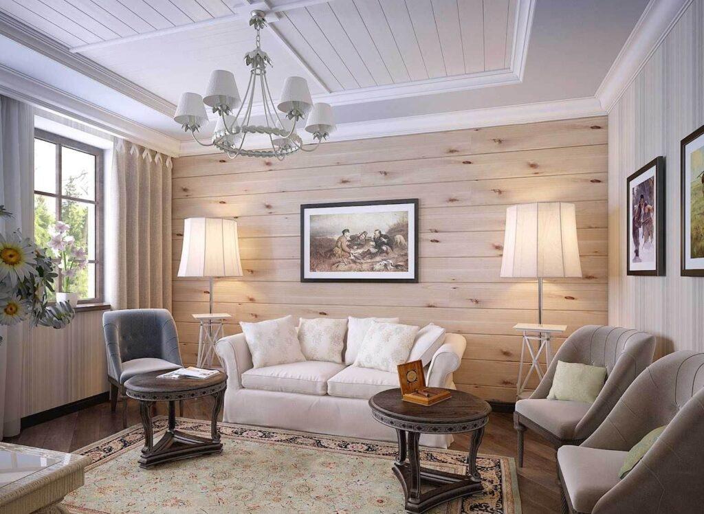 обшивка деревом стены в гостиной