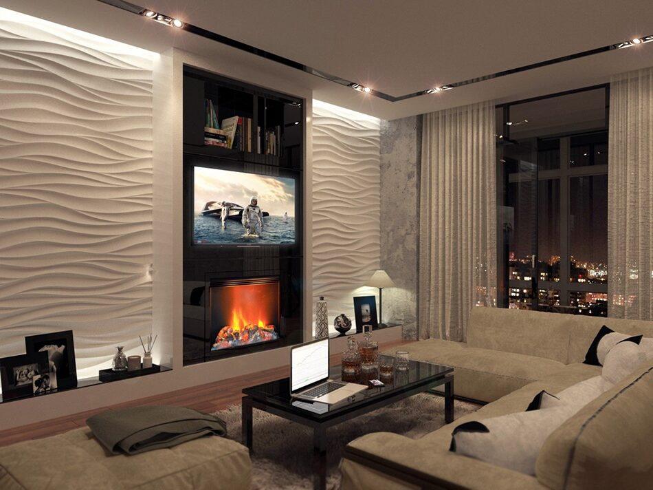 великолепная гостиная в современном стиле и 3D панели