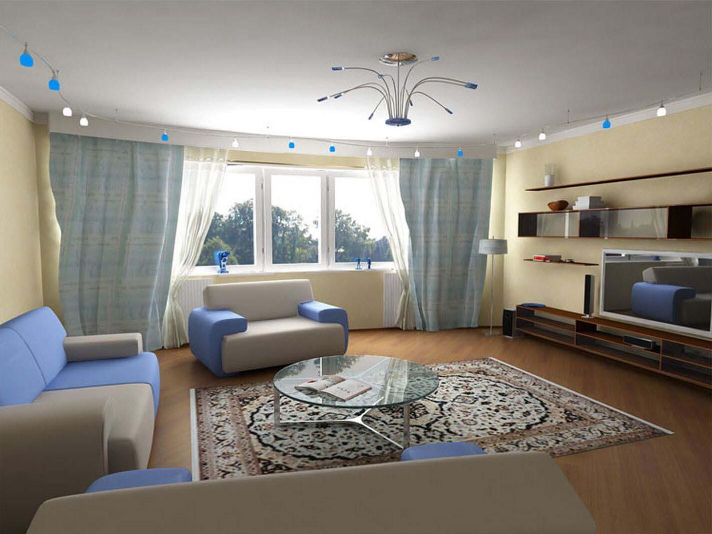 чистая и уютная гостиная в светлых тонах