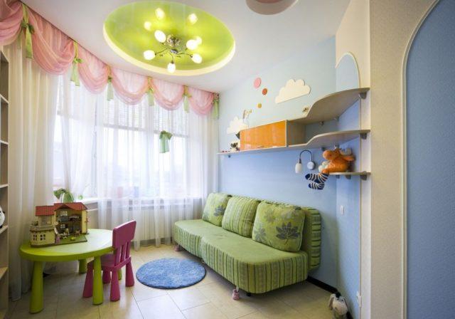 дизайн потолка гипсокартоном в детской